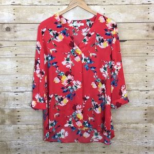 Rose + Olive Red Floral Top
